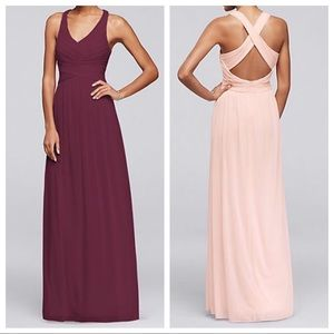Davids Bridal Long Bridesmaid Dress WINE Size 18